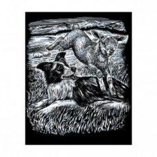 Artfoil silver sheepdog and lamb